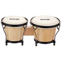 RockJam 7 & 8 inch Bongo Set with Padded Bag - Natural.