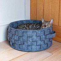 Rosewood Grey Felt & Fur Plaited Pet Bed.