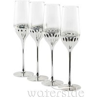 Set Of 4 Art Deco Flute Glasses.