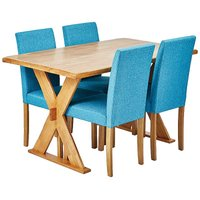 Seville Oak Stain Wooden Dining Table & 4 x Anna Twill Fabric Dining Chairs.