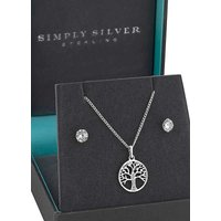 Simply Silver Sterling Silver 925 Cubic Zirconia Tree Of Life Jewellery Set.