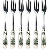 Spode Christmas Tree Set Of 6 15cm Porcelain Pastry Forks.