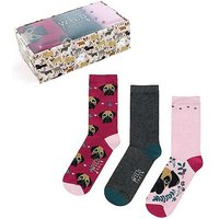 Wild Feet 3 Pack of Boxer Dog Design Ladies Socks in a Gift Box.