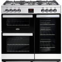Belling 444444070 CookCentre 90cm Dual Fuel Range Cooker - Stainless Steel