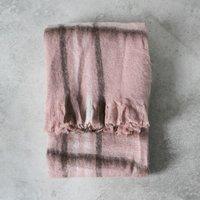 Alma Mohair Check Throw - Blush