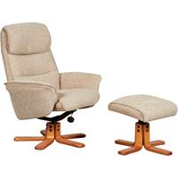 Alma Swivel Recliner Chair & Footstool - Stone