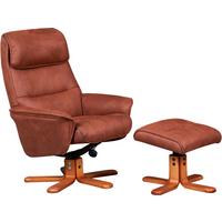 Alma Swivel Recliner Chair & Footstool - Tan
