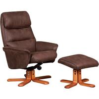 Alma Swivel Recliner Chair & Footstool - Chocolate
