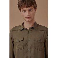 Camisa Ml Elaborado Lyocel Verde Escuro