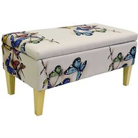 Butterfly Fabric Storage Stool with Natural Legs