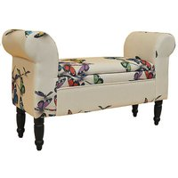 Storage Butterfly Fabric Ottoman Chaise Seat