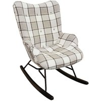 Wing Arm Metal Framed Padded Rocking Chair
