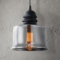 Danas hanging light  wide smoked glass lampshade