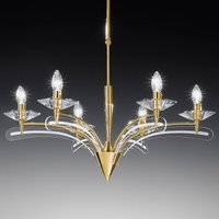 Chandelier ICARO with crystal glass 6 bulb  gold