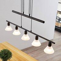 Height adjustable pendant lamp Delira 5 bulb black