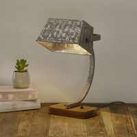 Scava table lamp with a wooden base  zinc coloured