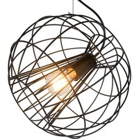 Pop hanging light  round cage lampshade  black