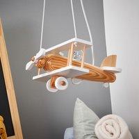 Aeroplane pendant light  white  wooden elements