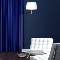 Silver MEANDER floor lamp with fabric lampshade