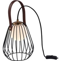 Indiana table lamp with cage lampshade black
