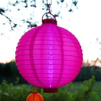 LED-Solar-Lampion Jerrit in strahlendem Pink