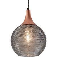 Smoke coloured Fiona glass hanging light  1 bulb