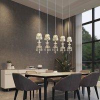 Lucande Yasanie LED pendant light  5 bulb  long