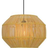 Anteo hanging light made of rattan  flat oval
