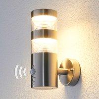 LED-Edelstahl-Außenwandleuchte Lanea gerade Sensor
