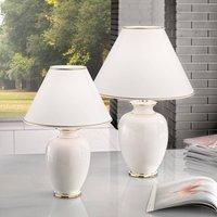 Giardino Avorio table lamp in white gold    40 cm