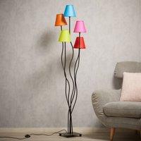 Colori fabric floor lamp 5 bulb colourful