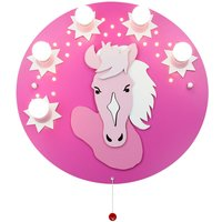 Pony ceiling light in pink and magenta  five bulb