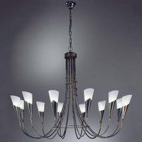 Twelve bulb black copper chandelier CAMPAGNOLA