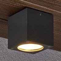 Rectangular LED ceiling light Meret for outdoors