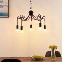Lucande Jorna hanging light  5 bulb  red cable