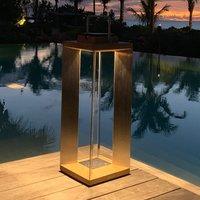 Teckinox LED solar lantern  teak steel  65 5 cm