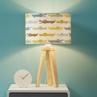 Colourful Kroko children s table lamp with wood