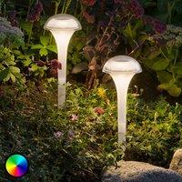 LED-Solarlampe Assisi, 2er Pack, Leuchte gewölbt
