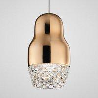 One bulb LED hanging light Fedora rose gold