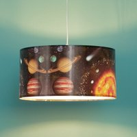 Space hanging light with an outer space print