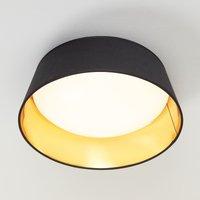Schwarz-goldene Textil-Deckenlampe Ponts m. LEDs