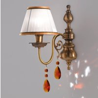 Crystal   richly decorated fabric wall light