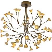 B Leuchten Fleur LED hanging light  antique brass