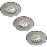Set of 3 LED recessed lights Nikas IP44  nickel