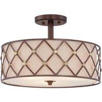 Brown Lattice semi flush ceiling light