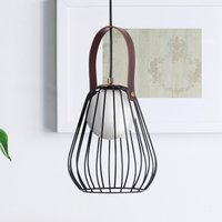 Indiana pendant light with cage lampshade black