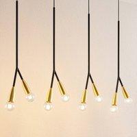 Lucande Carlea hanging lamp 8 bulb black and brass