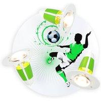 Soccer ceiling light  3 bulb  green and white