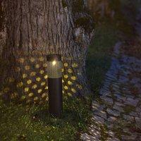 Blace LED solar light in black  39 cm high