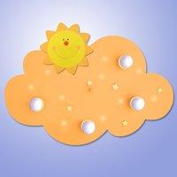 Imaginative Cloud Sun ceiling light with LEDs